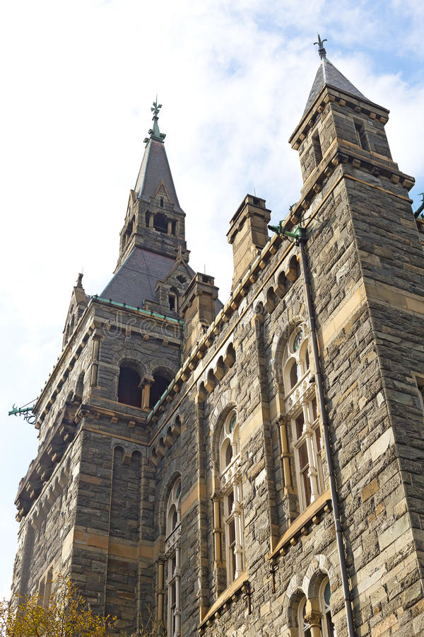 Historic architecture of Georgetown University flagship building. stock image