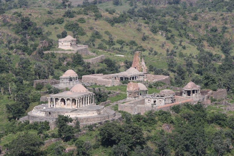 Historic architecture, group of temple, kumbhalgarg fort stock photo