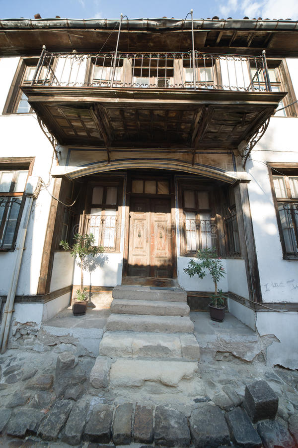 Historic architecture of the old Plovdiv in Bulgaria stock photos