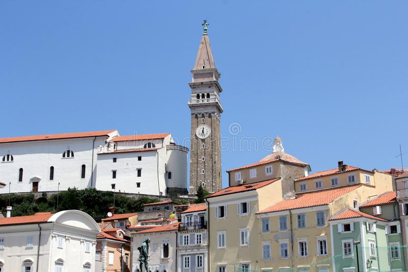 Historic architecture of Piran, Slovenia. Historic architecture in Piran, Slovenia. Piran is a small town in southwestern Slovenia on the Adriatic Sea, the royalty free stock photo