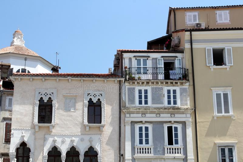 Historic architecture of Piran, Slovenia. stock image