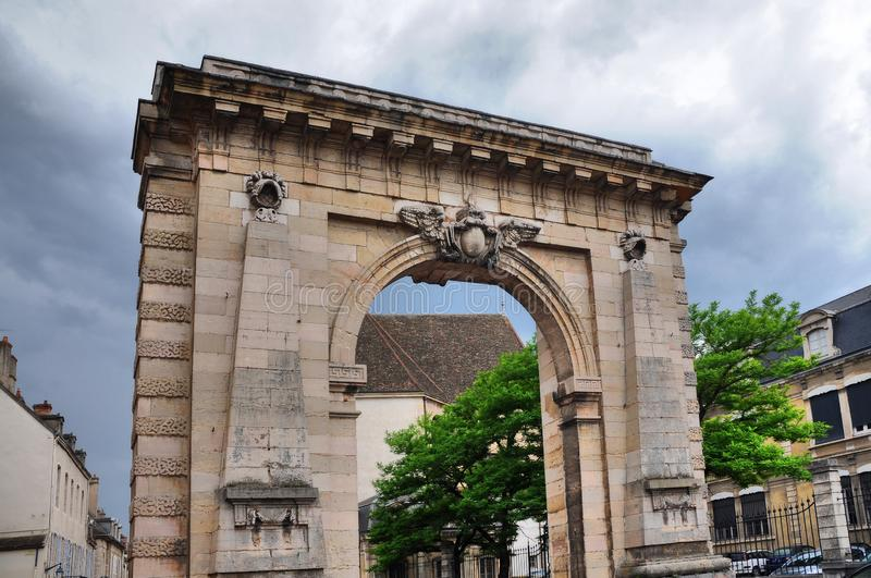 Archway at the entrance of Beaune. Historic archway at the entrance of beaune in Burgundy, eastern france stock photo