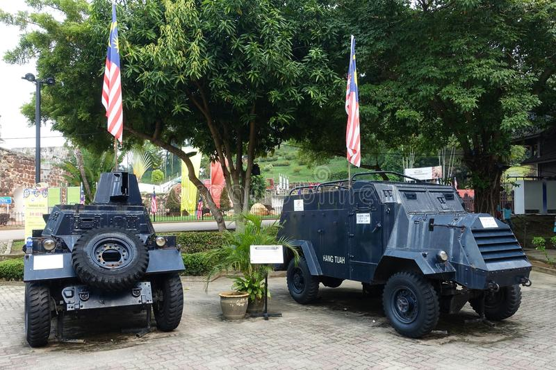 Historic army cars in Malacca. Army cars in Malacca Malaysia stock photo