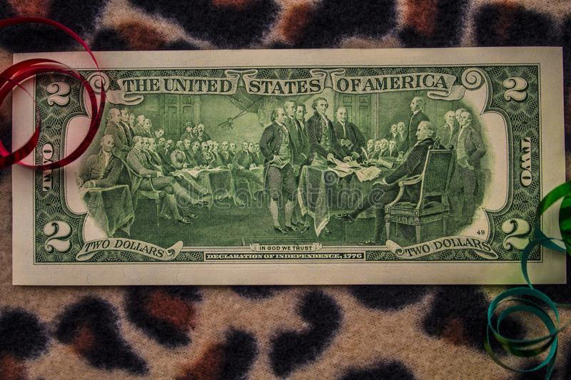 Historic Back Side of a Two Dollar Bill royalty free stock photo