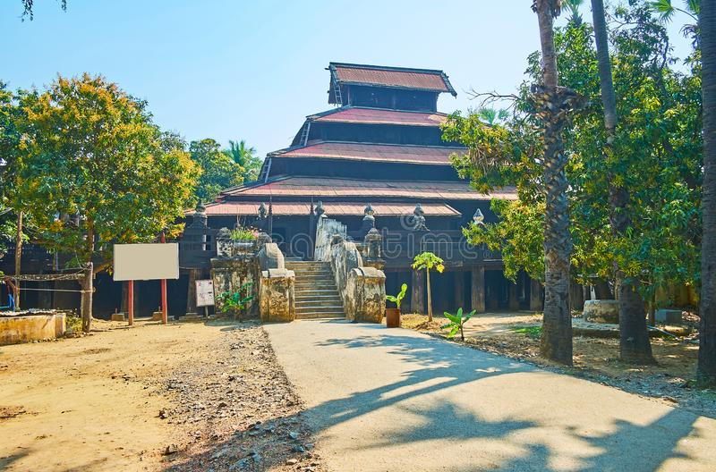 Historic Bagaya Monastery, Ava. Historic Bagaya Monastery is one of the central landmarks of Ava Inwa, famous for its stunning architecture and ornate wooden royalty free stock photography