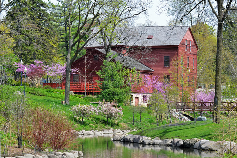 Historic Baltic Mill. Belvidere Municipal Park, IL stock photos