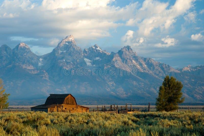 Historic barn in Grand Teton National Park stock images