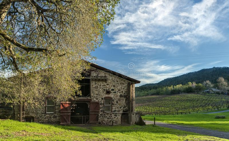 Historic Barn in Jack London State Park at Sunset. The Setting Sun Warms a Historic Building at the Winery Ruins of Jack London State Park in Glen Ellen royalty free stock photo