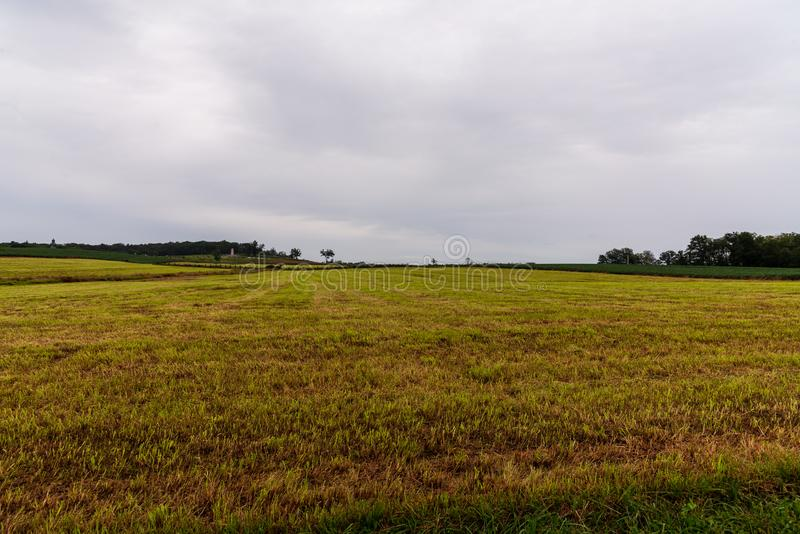 A Historic Battlefield in Gettysburg, PA. A wide-angle shot of what was once a historic American Civil war battlefield in Gettysburg, PA stock image