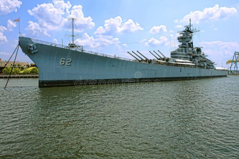 Historic Battleship USS New Jersey in Camden stock image