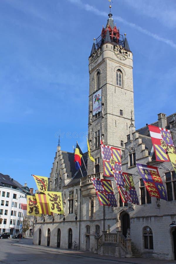 Historic Belfry of Dendermonde, Belgium. DENDERMONDE, BELGIUM, 31 OCTOBER 2019: View of the historic 14th century Belfry of Dendermonde. The building is included stock image