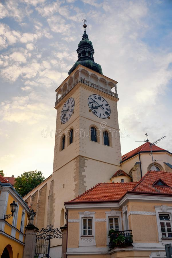 Historic bell tower of Church of St. Wenceslas in Mikulov, Czech Republic stock photography