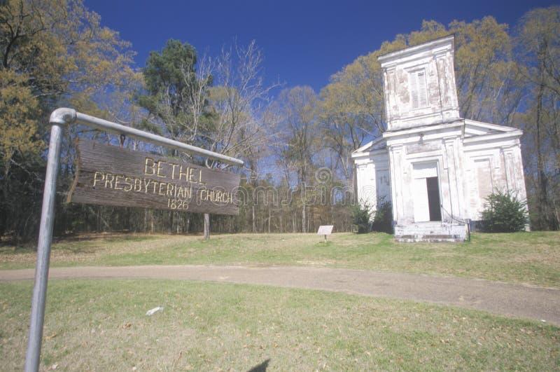 Historic 1826 Bethel Presbyterian Church in deep South of MS stock photo