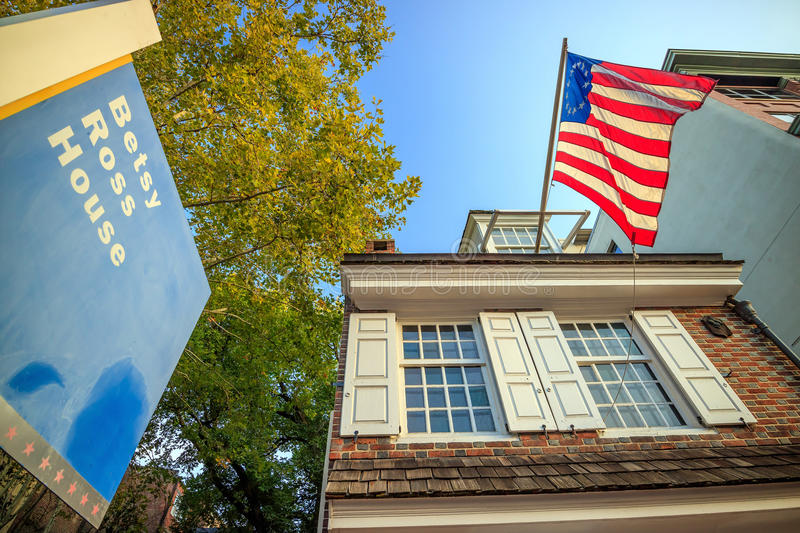 The historic Betsy Ross house. PHILADELPHIA - OCT 19: The historic Betsy Ross house tourism landmark with hanging American flag in Old City Philadelphia on stock photos