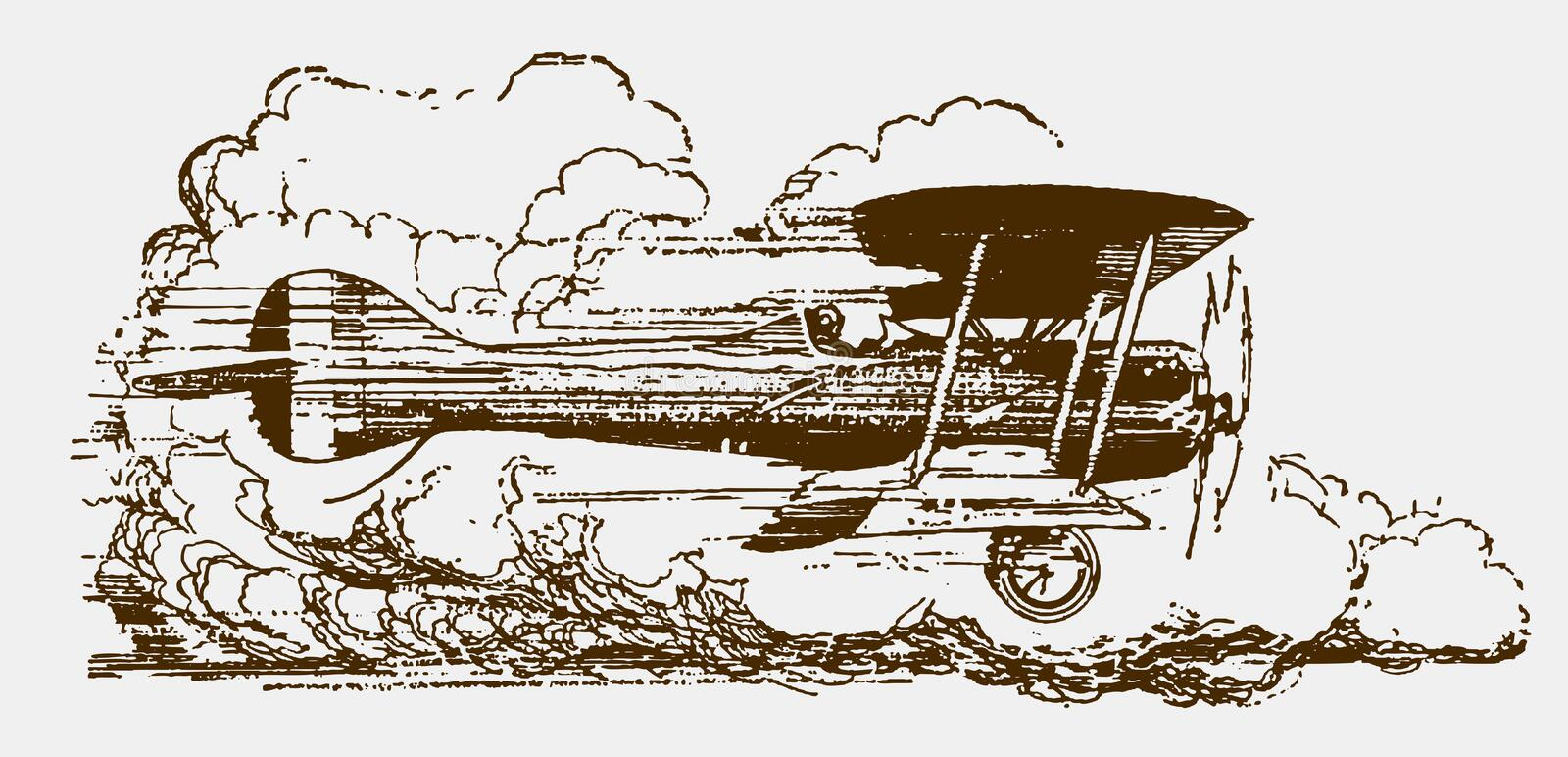 Historic biplane in side view flying at high speed in front of large cumulus clouds. Illustration after a lithography from the early 20th century royalty free illustration