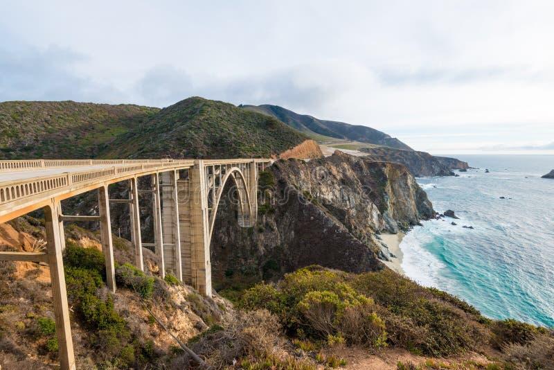 The Historic Bixby Bridge. Pacific Coast Highway California. The Historic Bixby Bridge on the Pacific Coast Highway California Big Sur stock photo