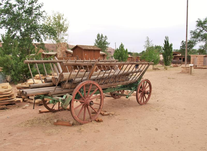 Wagon at Bluff Fort Historic Site in Bluff, Utah stock photos