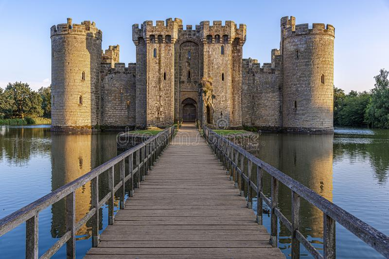 Historic Bodiam Castle and moat in East Sussex. England royalty free stock photography