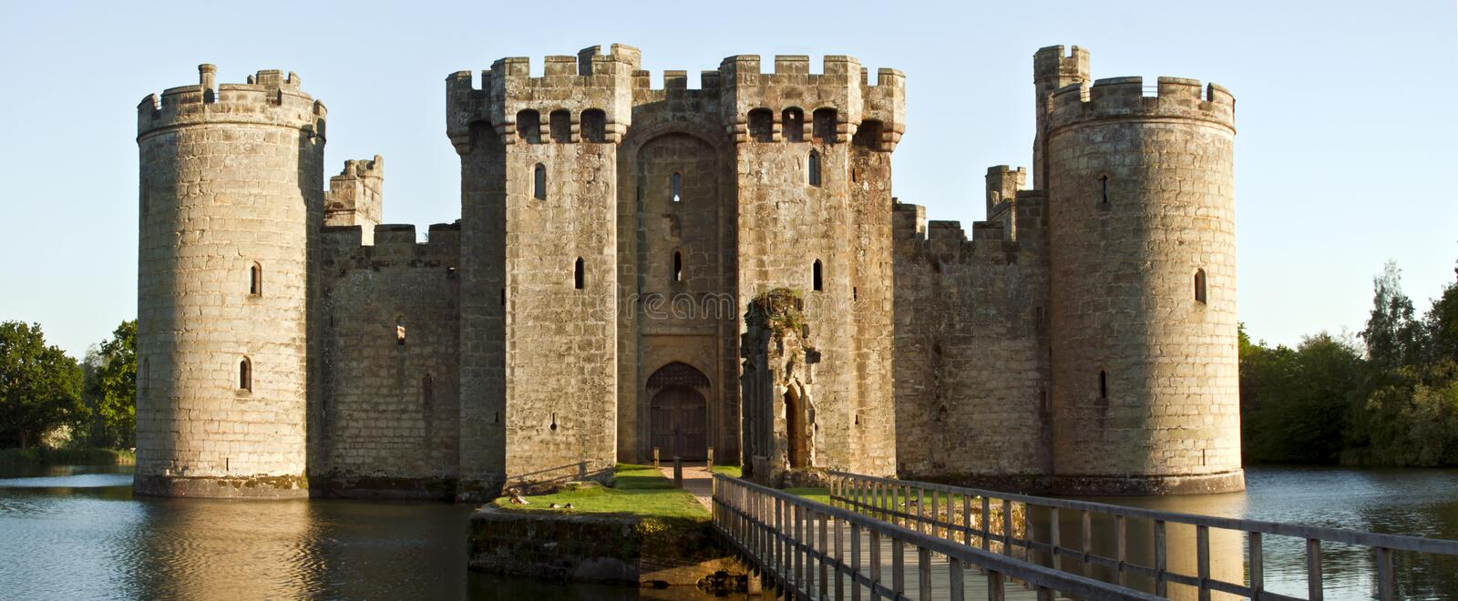 Historic Bodiam Castle and moat in East Sussex, England stock images