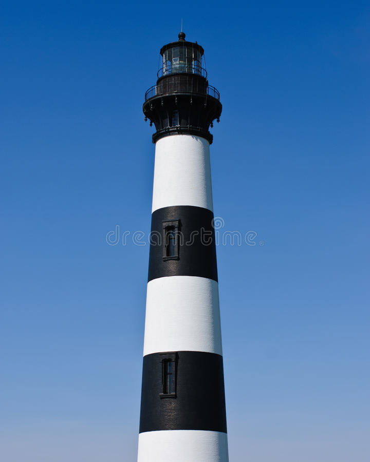 Historic Bodie Island Lighthouse at Cape Hatteras National Seashore on the Outer Banks of North Carolina. View of Historic Bodie Island Lighthouse at Cape stock photo
