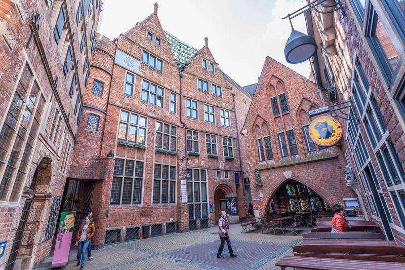 Historic Boettcher Street in Bremen, Germany stock photos