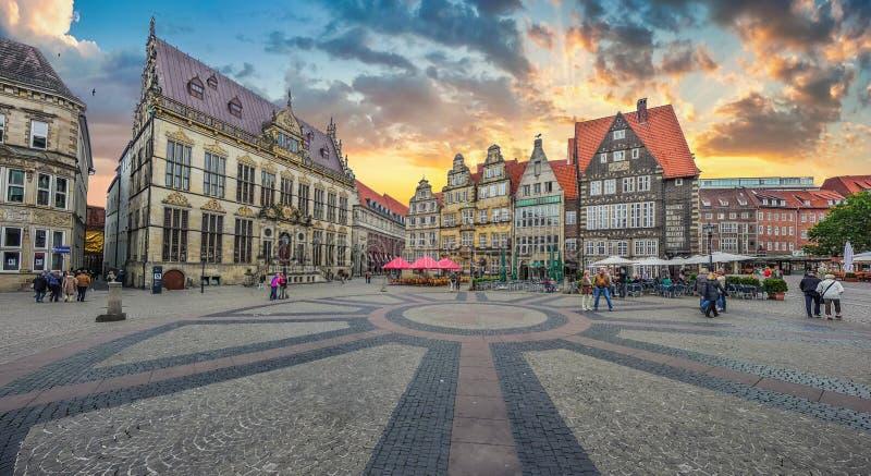Historic Bremen Market Square in the Hanseatic City Bremen, Germany stock photo