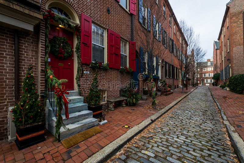 Historic Brick Buildings in Society Hill in Philadelphia, Pennsylvania stock images