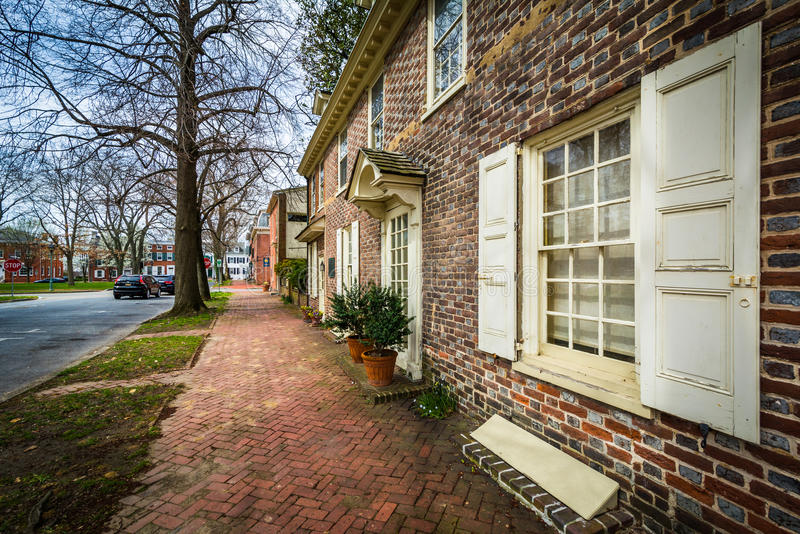 Historic brick house in Dover, Delaware. stock image