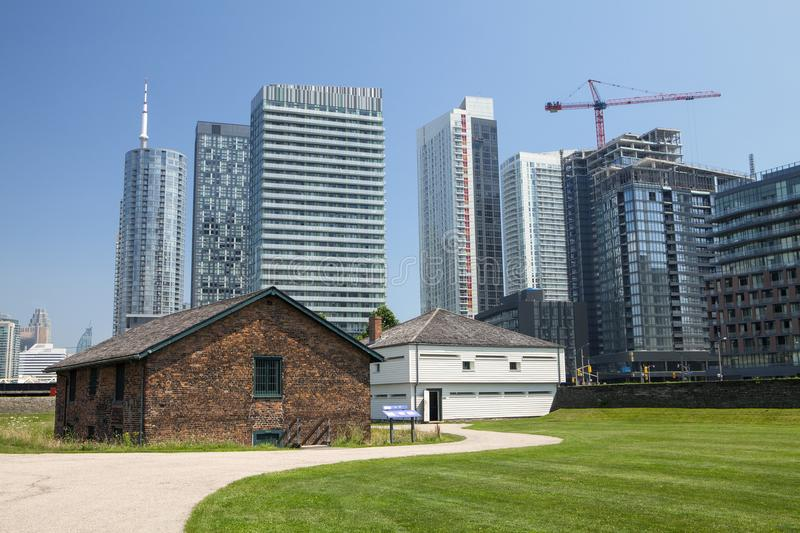 The historic buildings at Fort York in Toronto. The historic Brick Magazine and East Blockhouse at Fort York in Toronto Canada stock photos