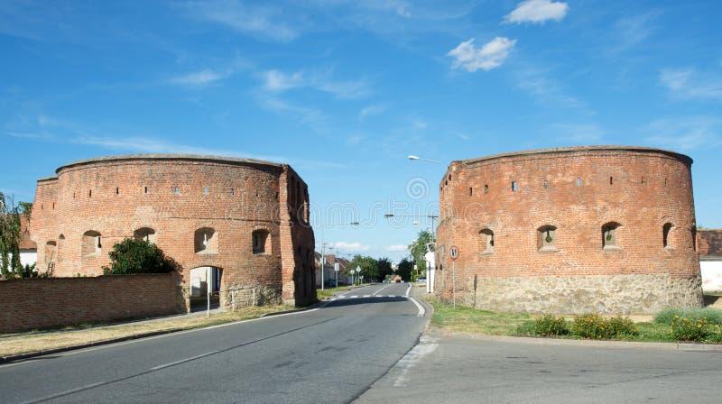 Skalicka gate in Straznice, Czech republic. Historic bricks Skalicka gate in town Straznice, eastern Moravia, Czech republic,Europe stock image