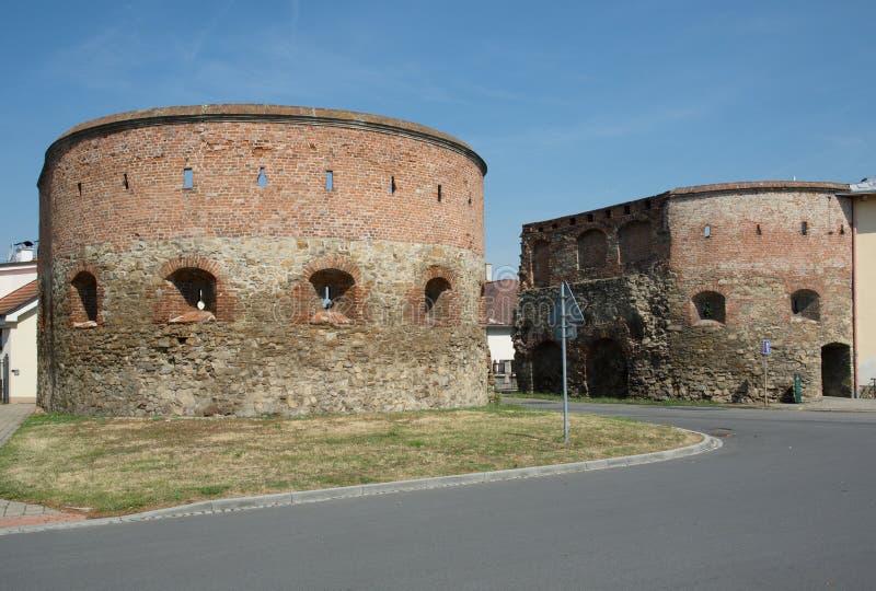 Veselska gate in Straznice, Czech republic. Historic bricks Veselska gate in town Straznice, eastern Moravia, Czech republic,Europe stock photography