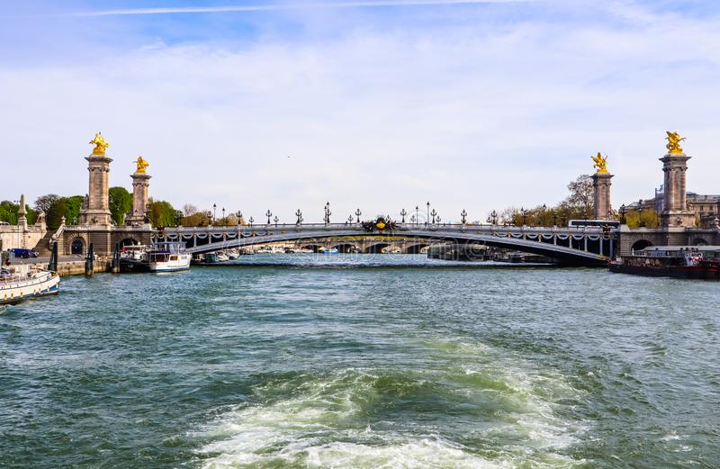 Historic bridge Pont Alexandre III over the River Seine in Paris France.  royalty free stock photo