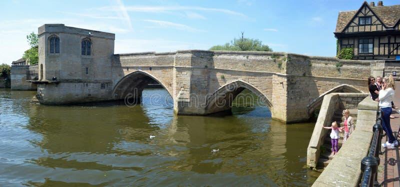 The historic bridge at St Ives Cambridgeshire stock images