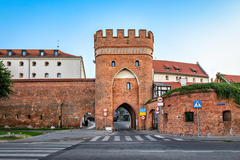 Historic Bridge Tower in Torun, Poland. Historic Bridge Tower Brama Mostowa in Torun, Poland stock photo