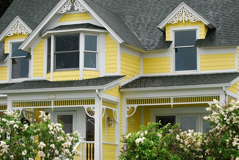 Historic Bright Yellow Home stock images
