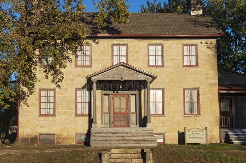 Historic Brisbois House in Prairie du Chien. Prairie Du Chien, Wisconsin/USA –October 20, 2018: Landmark Brisbois House is one of the oldest standing stock photo