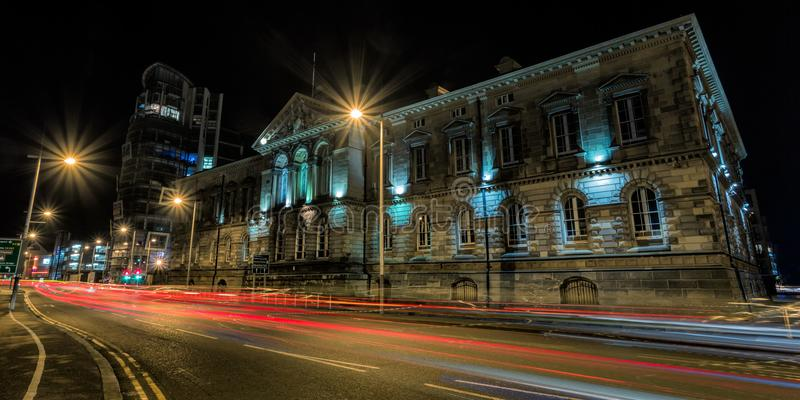 Historic building in Belfast. A historic building in Belfast at night royalty free stock images