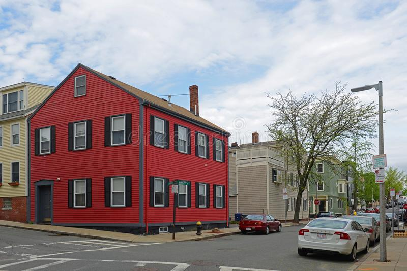 Historic Building in Charlestown, Boston, MA, USA. Historic Buildings at the corner of Bartlett Street and Cross Street in Charlestown, Boston, Massachusetts royalty free stock photography