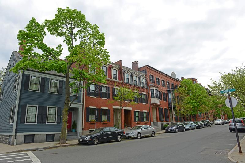 Historic Building in Charlestown, Boston, MA, USA. Historic Buildings on High Street at Green Street in Charlestown, Boston, Massachusetts, USA stock photography