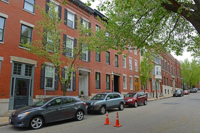 Historic Building in Charlestown, Boston, MA, USA. Historic Buildings on Winthrop Street near Winthrop Square in Charlestown, Boston, Massachusetts, USA stock image