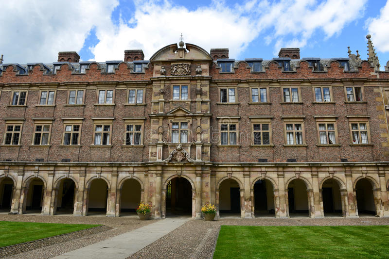 Historic Building with Colonnade, St Johns College. Exterior Facade of Historic Building with Arched Colonnade as seen from Interior of Courtyard, St Johns royalty free stock photography