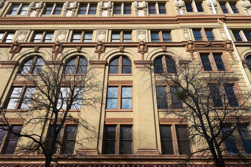 Historic building facade in San Antonio Texas royalty free stock image