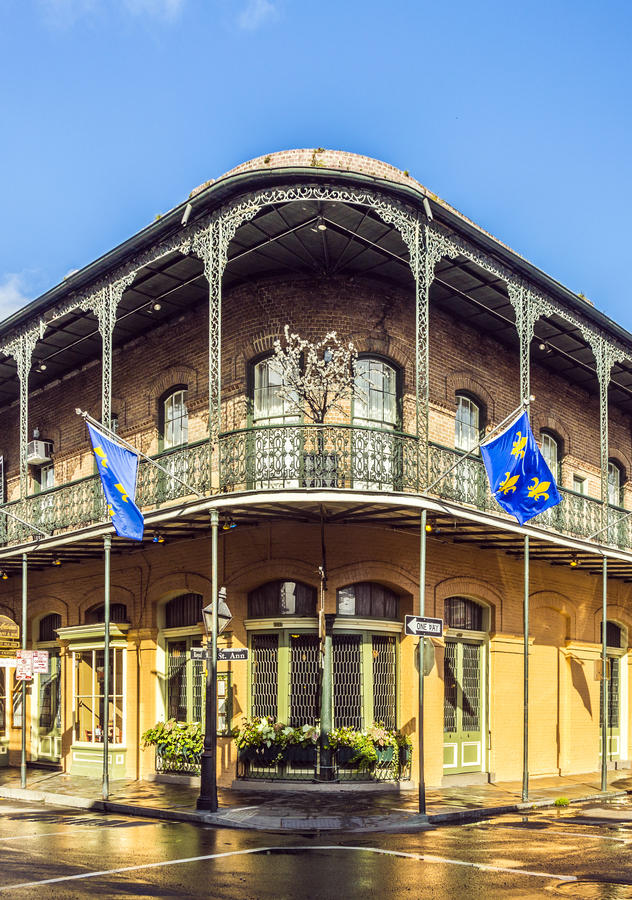Historic building in the French Quarter. Houses in historic building in the French Quarter in New Orleans, USA stock photo