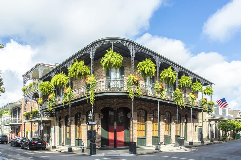 Historic building in the French Quarter. In New Orleans stock photos