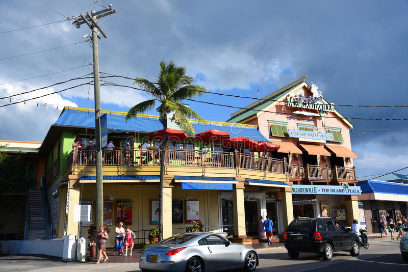 Historic building in George Town, Cayman Islands. Historic shop on Harbour Drive in downtown George Town, Grand Cayman, Cayman Islands stock photo