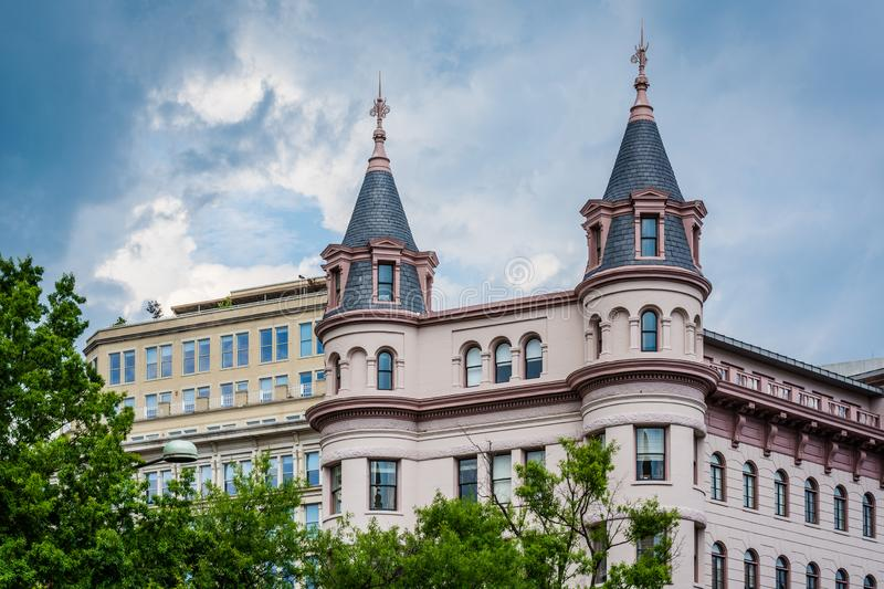 Historic building at Indiana Plaza, in downtown Washington, DC.  stock photography