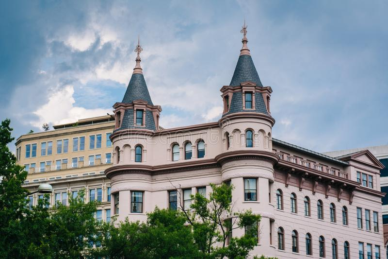 Historic building at Indiana Plaza, in downtown Washington, DC.  stock images