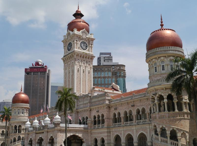 A historic building at the Merdeka square. The tower of the Sultan Abdul Samad building in front of the dataran Merdeka in Kuala Lumpur in Malaysia royalty free stock photos