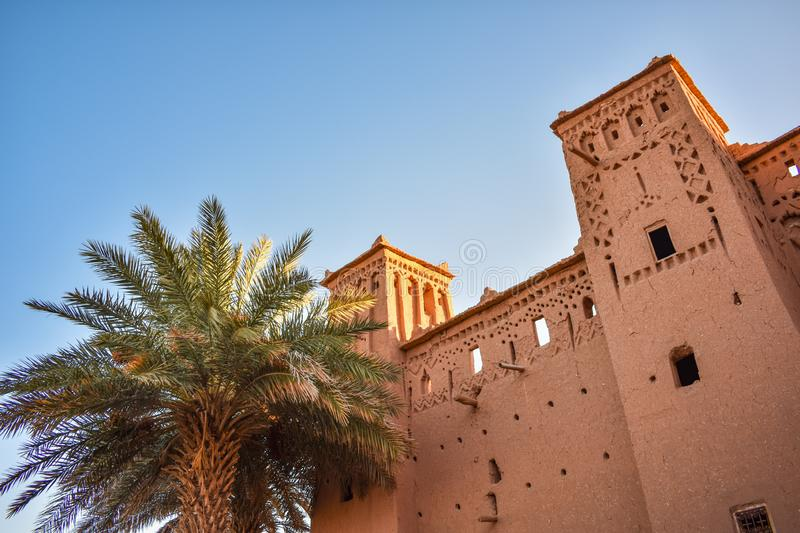 Historic Building and Palm Tree at Ait Ben Haddou in Morocco stock photography
