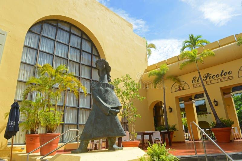 Historic building in Old San Juan, Puerto Rico. Historic building and Restaurant El Picoteo at Hotel El Convento on Calle de Cristo in Old San Juan, Puerto Rico royalty free stock photos